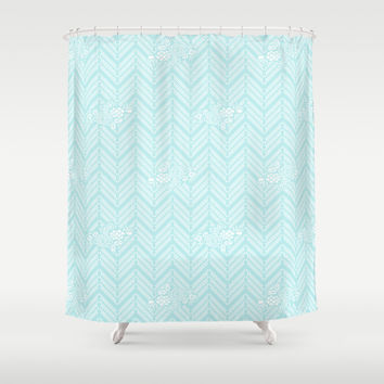 Turquoise Aqua Chevron Floral Shower Curtain by BeautifulHomes