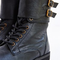 Ecote Buckled Ankle-Cuff Combat Boot- Black