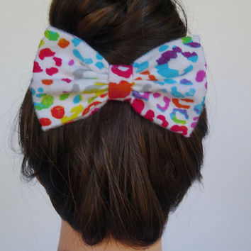 Rainbow Cheetah Bow - Cheetah Hair Bow Rainbow hair bow leopard hair bow colorful hair bow cheetah hair clip rainbow hair clip women's bow
