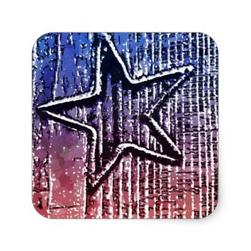 Red and Blue Cool Rustic Star Pop Art Print