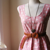 Jennifer Lilly Handmade Beautiful Pink and White Bird Spotty Cotton Dress // Boho Spring Vintage Whimsical Dress (XS,S,M,L,XL,XXL)