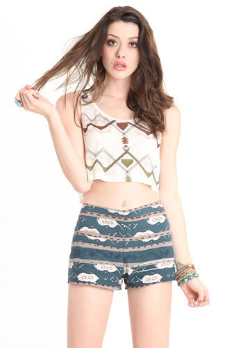 November Skies Printed Shorts by BB Dakota - $58.00 : ThreadSence.com, Your Spot For Indie Clothing &amp; Indie Urban Culture