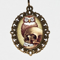 Owl And Skull Necklace, Owl Pendant, Owl Jewelry, Gothic, Skull, Halloween, Oval Pendant