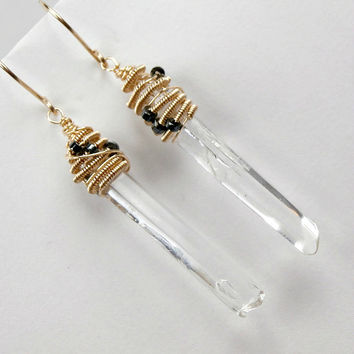Quartz Crystal Point Earrings Wire Wrapped 14kt Gold Fill Coiled Dangle Earrings