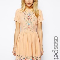 ASOS PETITE Premium Skater Dress With Pretty Floral Embroidery at asos.com