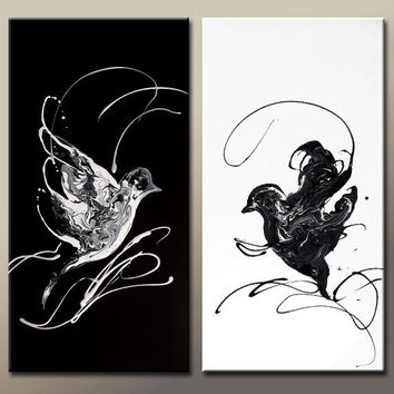 2pc Abstract  Art Painting Black & White 36x36 Original Contemporary Bird Art on Canvas by Destiny Womack - dWo - You Call to Me