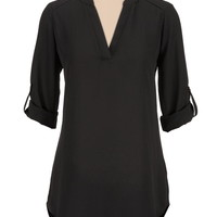 high-low split neck chiffon blouse
