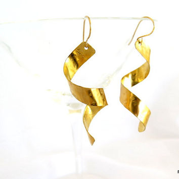 Long spiral earrings, hammered brass corkscrew dangle earrings, gift under 30
