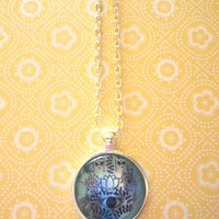 blue hamsa hand bohemian round glass dome necklace for fashionable kids, tween or teen girl