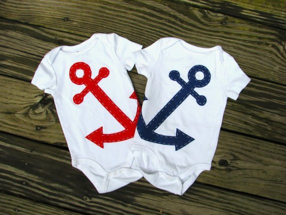 Anchor Baby Clothes - Nautical Twin Baby Onesuit