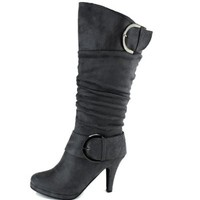 Two Buckle Fashion Mid-calf Slouch Folds Body Kitten Heel Brown Grey Boots