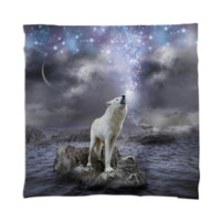 Stars Lie Hidden In Your Soul (Wolf Howl Galaxy) Scarf created by soaringanchordesigns   Print All Over Me