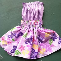girl's hula skirt and traditional top set