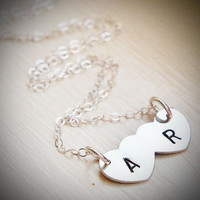 Custom Initial Double Heart Necklace