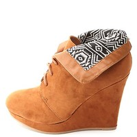 Tribal-Lined Cuffed Lace-Up Wedge Booties
