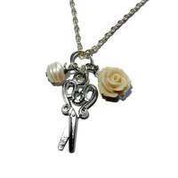 Scissor Charm Necklace with Freshwater Pearl and Flower , Hairdresser, Sewing Gift