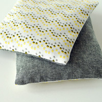 Modern Lavender Sachets in Grey Chambray and Yellow & Black Dots