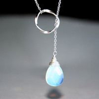 Opalite Moonstone Necklace Lariat necklace with silver circle - gold available, Sterling Silver chain available