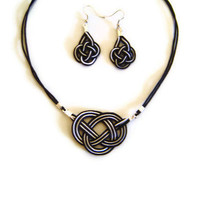 Nautical jewelry set - necklace and earrings,macrame,sailor knot, celtic knot,black&white
