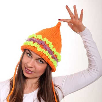 Orange Tatarka Hand Knitted Hat, Pointed Hat, Women Hat by Solandia, Girl Hat, Teen Hat, Winter Knitting Accessories, neon, Christmas Gift