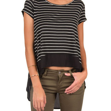 SHEER BACK STRIPED HIGH LOW TOP