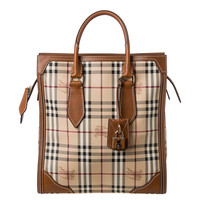Burberry 'Haymarket Check Classic Honeywood' Medium Tote Bag