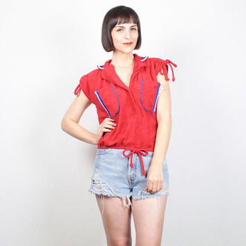 Vintage 70s Shirt Hippie Top Red Terry Cloth Cap Sleeve Sporty Tshirt 1970s Top Red White Blue Crop Top Slouchy Tee XS S Small M Medium