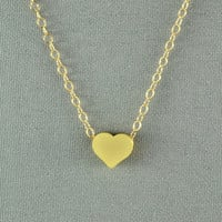 Tiny Gold Heart Necklace, 14K Gold Filled Chain, Simple, Cute, Delicate, Pretty Necklace