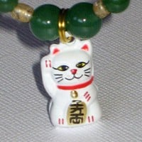 Good Luck Bracelet with Japanese Lucky Kitty Charm and Aventurine