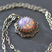 Pink Fire Necklace, Vintage glass Opal and antiqued brass