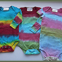 Set Of Three Tie Dyed Onesuit Bodysuits Baby Toddler Children's Clothing Eco Friendly