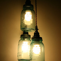 3 Jar Pendant Light - Vintage Blue Mason Jar Chandelier Light - Hanging Mason Jar Hanging Pendant Light -