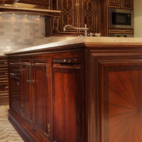 Kitchen island, walnut burl, marble top by BespokeMinneapolis