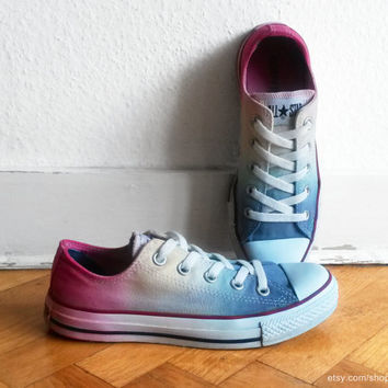 Icy rainbow ombre Converse, dip dye upcycled vintage sneakers, All Stars, Chucks, eu 36.5 (uk 4, us wo 6, us men's 4)
