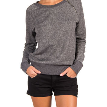 Comfy Zipper Neck Sweater - Charcoal - Charcoal /