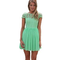Kamaco Womens Round Neck Lace Chiffon Slim Cocktail Party Mini Belted Dress