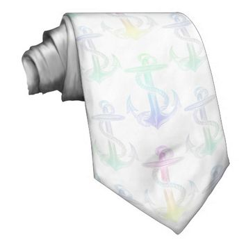 Anchor Pastel Rainbow White Tie