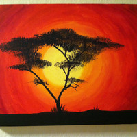 African Tree Sunset- Original Acrylic on canvas 9x12