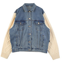 Wash Denim Jacket With Knitted Sleeve - Choies.com