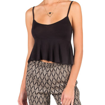 TIERED CROPPED CAMI - BLACK