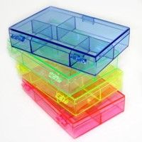 Darice 3-1/2-Inch by 4-1/2-Inch by 1-Inch Neon Plastic Organizer, Set of 4