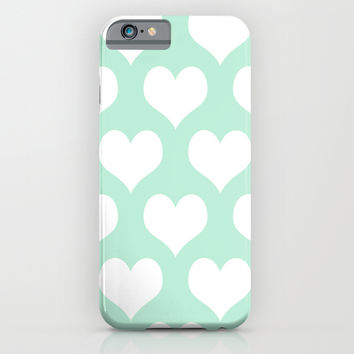 Hearts of Love Mint Green iPhone & iPod Case by BeautifulHomes