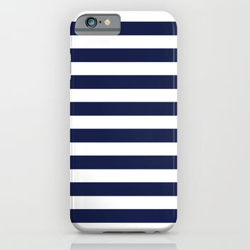 Stripe Horizontal Navy Blue iPhone & iPod Case by BeautifulHomes