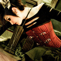 SANGUINE STRIATION STEEL BONED CORSET