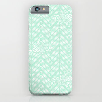 Mint Chevron Floral iPhone & iPod Case by BeautifulHomes