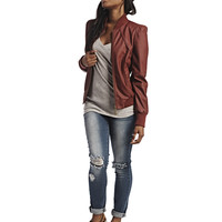 Ribbed Detail Faux Leather Moto Jacket   Wet Seal