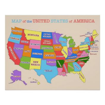 Multi-Colored Map Of the United States