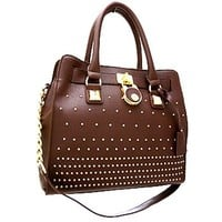 Classy! Chain Shoulder Strap Studded Handbag Purse (Brown)