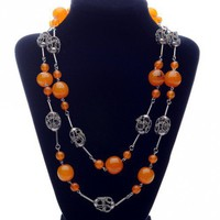 Amber  Silver Filigree Necklace