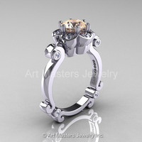 Art Masters Caravaggio 14K White Gold 1.0 Ct Champagne and White  Diamond Engagement Ring R606-14KWGDCHD